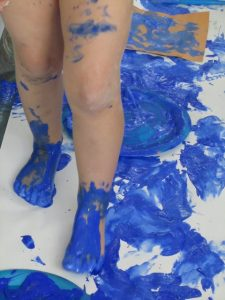 Painting our legs blue…